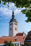 Photo of the spire of St Olaf's Church in Tallinn Estonia.