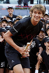 May 13, 2018 - Madrid, Madrid, Spain - Alexander Zverev of Germany holds the trophy after winning the tournament in his final match against Dominic Thiem of Austria during day nine of the Mutua Madrid Open at the Caja Magica on May 13, 2018 in Madrid, Spain  (Credit Image: © David Aliaga/NurPhoto via ZUMA Press)