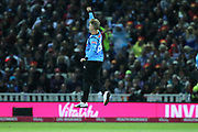 Sussex's Will Beer celebrates the dismissal of Worcestershire Rapids Moeen Ali during the final of the Vitality T20 Finals Day 2018 match between Worcestershire rapids and Sussex Sharks at Edgbaston, Birmingham, United Kingdom on 15 September 2018.