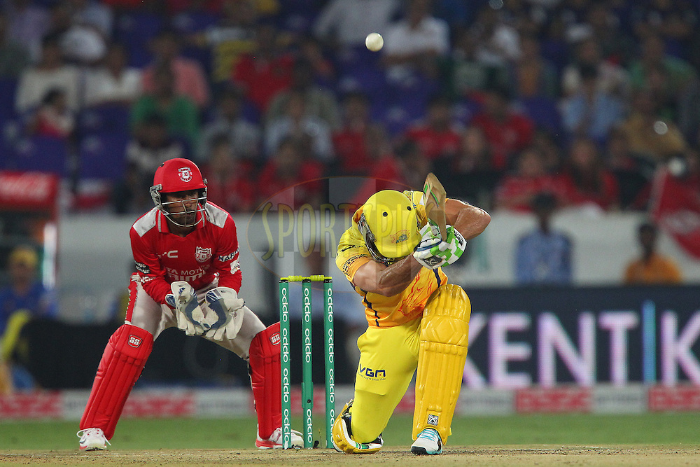 Francois Du PLESSIS of the Chennai Superkings flicks the ball over the keeper during the second semi final match of the Oppo Champions League Twenty20 between the Kings XI Punjab and the Chennai Superkings held at the Rajiv Gandhi Cricket Stadium, Hyderabad, India on the 2nd October 2014<br /> <br /> Photo by:  Ron Gaunt / Sportzpics/ CLT20<br /> <br /> <br /> Image use is subject to the terms and conditions as laid out by the BCCI/ CLT20.  The terms and conditions can be downloaded here:<br /> <br /> http://sportzpics.photoshelter.com/gallery/CLT20-Image-Terms-and-Conditions-2014/G0000IfNJn535VPU/C0000QhhKadWcjYs