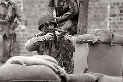 82nd 505th PIR with Thompson Sub machinegun take part in a Battle reenactment - Nww2A Fort Paull <br /> <br />  Copyright Paul David Drabble<br /> 5th & 6th May 2019<br />  www.pauldaviddrabble.co.uk