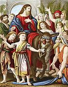 Christ riding into Jerusalem on an ass. 'Bible'  New Testament: Mark VI. Chromolithograph c1860