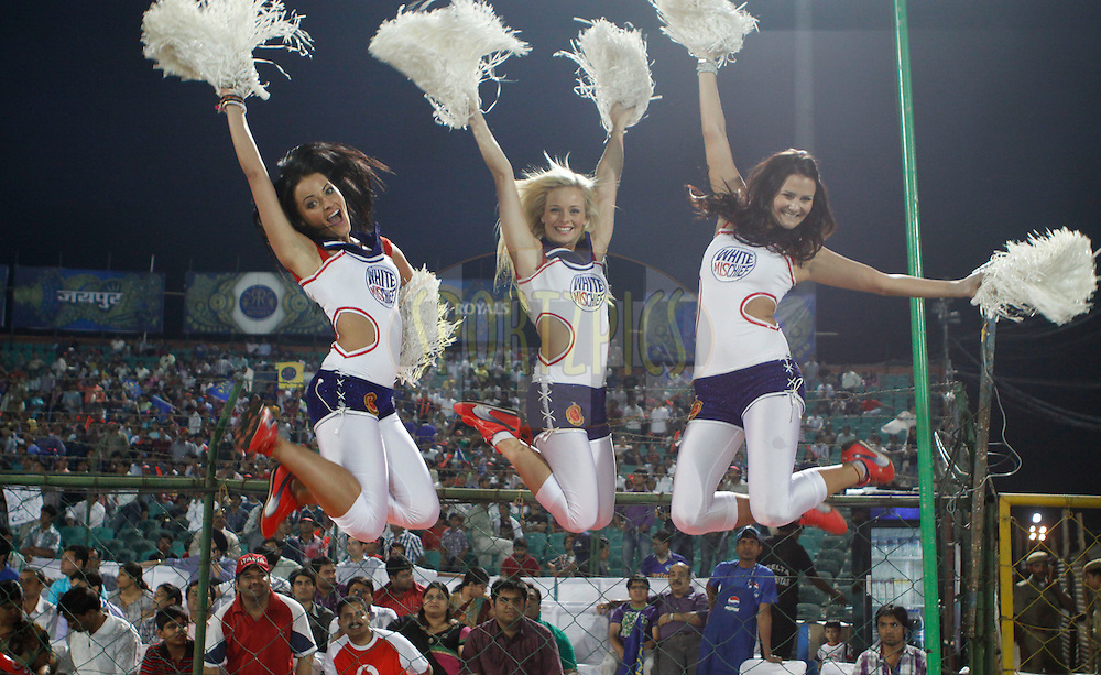 Royal Challengers Bangalore Cheerleaders during match 30 of the the Indian Premier League ( IPL) 2012  between The Rajasthan Royals and the Royal Challengers Bangalore held at the Sawai Mansingh Stadium in Jaipur on the 23rd April 2012..Photo by Pankaj Nangia/IPL/SPORTZPICS
