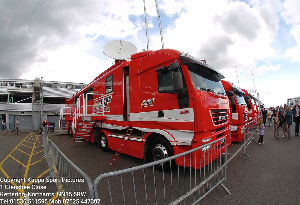 Ferrari F1 Trucks line up in Paddock, F1 Pre British Grand Prix Test, Silverstone 21.6/07 Formula One, :Photo:Mike Capps