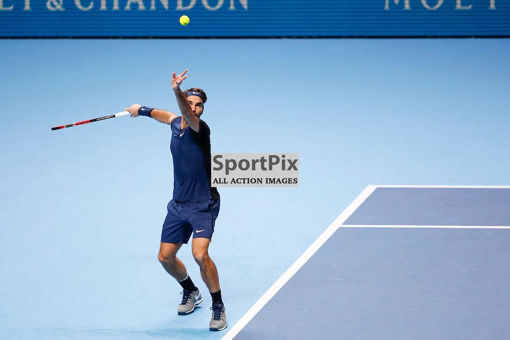 Roger Federer's serves during the ATP World Tour Final match between Novak Djokovic and Roger Federer at the O2 Arena, London 2015.  on November 22, 2015 in London, England. (Credit: SAM TODD   SportPix.org.uk)