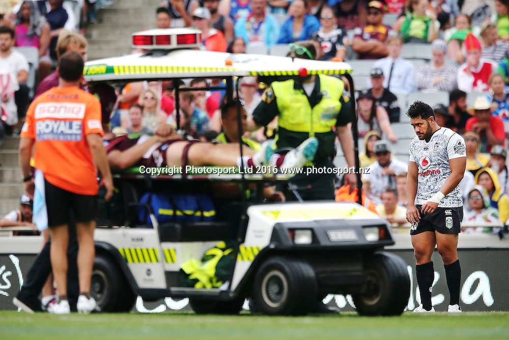 Konrad Hurrell of the Warriors looks on as he sends a Sea Eagles player carried off the field after his charging hit during Day 1 of the NRL Auckland Nines Rugby League Tournament, Eden Park, Auckland, New Zealand. Saturday 6 February 2016. Photo: Anthony Au-Yeung / www.photosport.nz