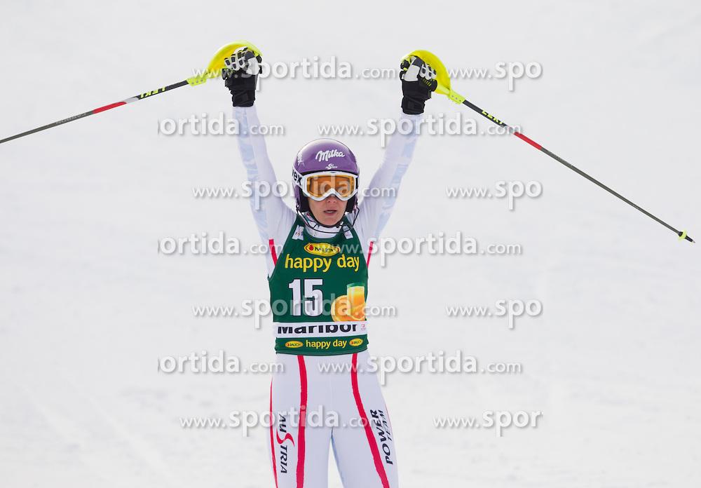 "KIRCHGASSER Michaela (AUT) celebrates after the 2nd Run of FIS Alpine Ski World Cup 7th Ladies' Slalom race named ""49th Golden Fox 2013"", on January 27, 2013 in Mariborsko Pohorje, Maribor, Slovenia. (Photo By Vid Ponikvar / Sportida.com)"