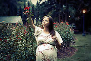 Maternity session at the Raleigh Rose Garden and Little Theatre in Raleigh, NC.