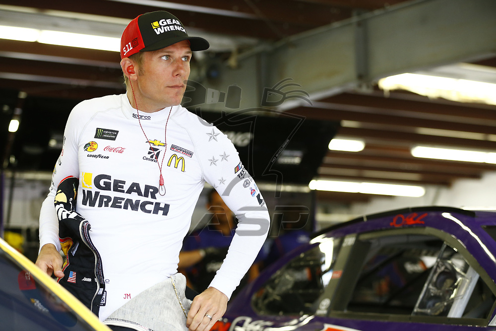 July 14, 2017 - Loudon, NH, USA: Jamie McMurray (1)  hangs out in the garage during practice for the Overton's 301 at New Hampshire Motor Speedway in Loudon, NH.