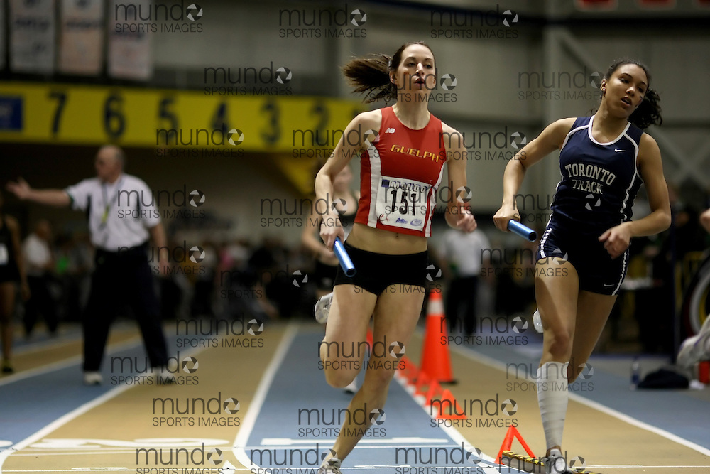 Windsor, Ontario ---14/03/09--- Rachel Aubry of  the University of Guelph competes in the Women's 4x400m Relay at the CIS track and field championships in Windsor, Ontario, March 14, 2009..Sean Burges Mundo Sport Images