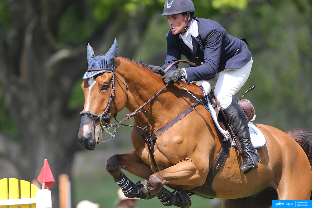Quentin Judge riding HH Whisky Royale in action during the $100,000 Empire State Grand Prix presented by the Kincade Group during the Old Salem Farm Spring Horse Show, North Salem, New York,  USA. 17th May 2015. Photo Tim Clayton