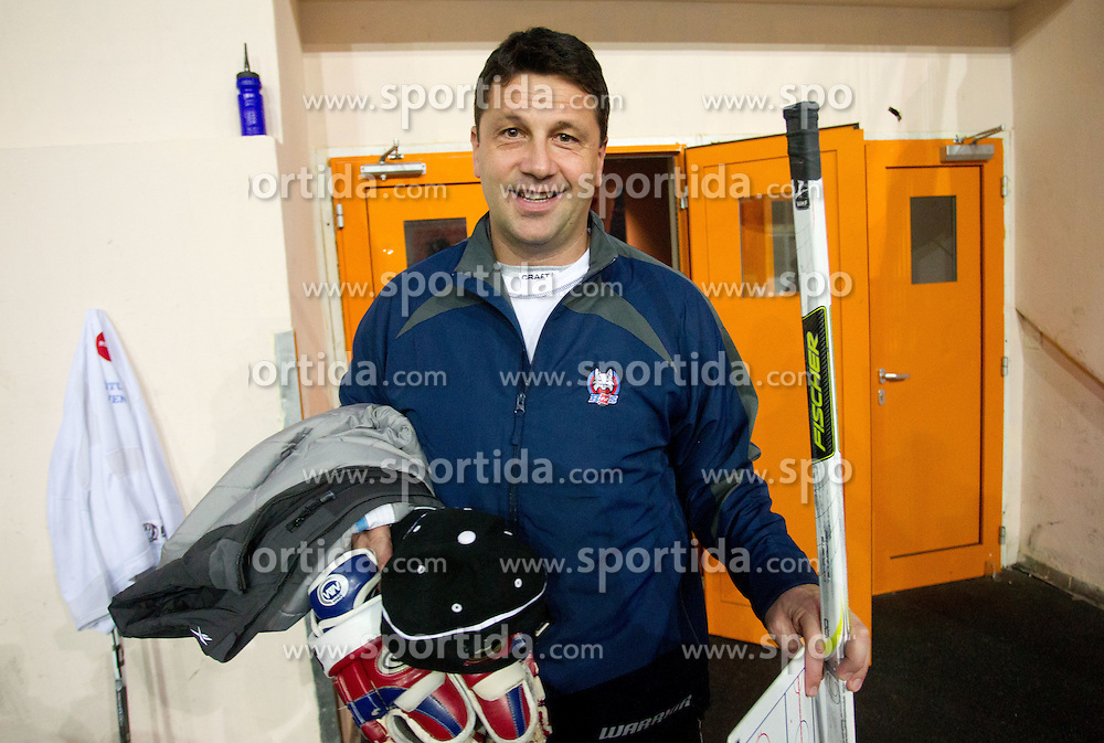 Gorazd Drinovec, head coach of Slovenian U20 ice-hockey team at practice session, on December 08, 2011 in Ledena dvorana, Bled, Slovenia. (Photo By Vid Ponikvar / Sportida.com)