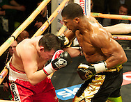 Picture by Alan Stanford/Focus Images Ltd +44 7915 056117<br /> 14/11/2013<br /> Anthony Joshua and Hrvoje Kisicek  during their heavyweight contest at York Hall, Bethnal Green.