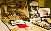 Photos and memorabilia from the Lakeport Opera House currently on display at the Laconia Public Library.  (Karen Bobotas/for the Laconia Daily Sun)