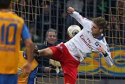 Football: Germany, 1. Bundesliga, Braunschweig, 15.02.2014<br />Domi Kumbela (Eintracht Braunschweig) and Lasse Sobiech (Hamburger SV) play of the goal<br /> copyright: pixathlon