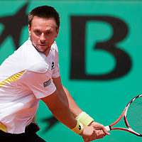 5 June 2009: Robin Soderling of Sweden eyes the ball as he prepares a backhand during the Men's Singles Semi Final match on day thirteen of the French Open at Roland Garros in Paris, France.