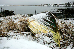 NORWAY LOFOTEN 29MAR07 - Hull of a boat covered in snow near the town of Solberg in Vågjepollen on the Lofoten islands...jre/Photo by Jiri Rezac..© Jiri Rezac 2007..Contact: +44 (0) 7050 110 417.Mobile:  +44 (0) 7801 337 683.Office:  +44 (0) 20 8968 9635..Email:   jiri@jirirezac.com.Web:    www.jirirezac.com..© All images Jiri Rezac 2007 - All rights reserved.