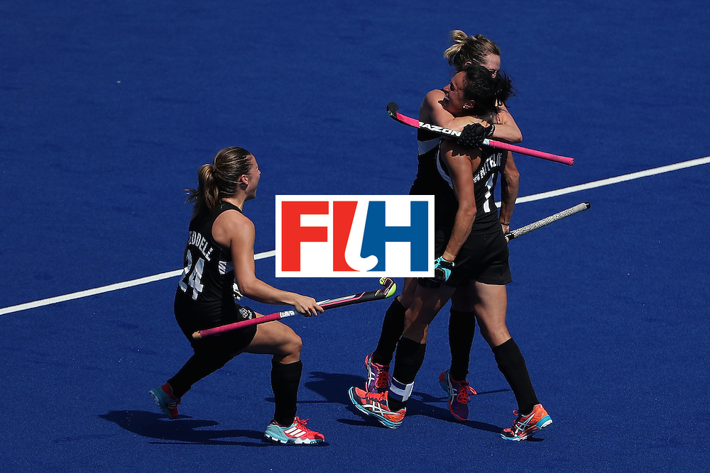 RIO DE JANEIRO, BRAZIL - AUGUST 15:  (L-R) Rose Keddell #24, Samantha Charlton #13 and Kayla Whitelock #1 of New Zealand celebrate after defeating Australia 4-2 in the quarter final hockey game on Day 10 of the Rio 2016 Olympic Games at the Olympic Hockey Centre on August 15, 2016 in Rio de Janeiro, Brazil.  (Photo by Christian Petersen/Getty Images)