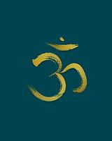 Sanscrit sacred symbol Om or Aum in Yoga, spiritual icon design golden yellow print on dark teal ocean blue background. Artistic Japanese Zen illustration.
