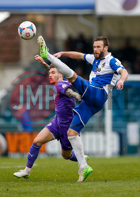 Andy Monkhouse of Bristol Rovers is challenged by Brad Abbott of Chester - Photo mandatory by-line: Rogan Thomson/JMP - 07966 386802 - 03/04/2015 - SPORT - FOOTBALL - Bristol, England - Memorial Stadium - Bristol Rovers v Chester - Vanarama Conference Premier.