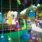 A market stall sells decorative bubble makers in Parque Central. Parque Central is the main square and the historic heart of Granada, Nicaragua.