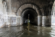 Paris . Flooding . The Seine river.   the tunnel under the Caroussel Bridge