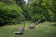 Old chairlifts used as part of a childrens' playground, on 26th June 2018, in Kamniska Bistrica, near Kamnik, Slovenia.