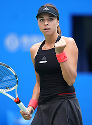 WUHAN, Sept. 28, 2018  Anett Kontaveit of Estonia celebrates scoring during the singles semifinal match against Wang Qiang of China at the 2018 WTA Wuhan Open tennis tournament in Wuhan, central China's Hubei Province, on Sept. 28, 2018. Anett Kontaveit advanced to the final after Wang Qiang withdrew due to injury. (Credit Image: © Cheng Min/Xinhua via ZUMA Wire)