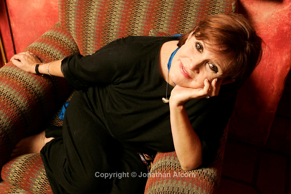 "Carrie Fisher at her home in Beverly Hills. Fisher stars in ""Wishful Drinking,"" an autobiographical one-woman show. The daughter of two celebrities, Carrie Fisher became a cultural icon when she starred as Princess Leia in the first Star Wars trilogy at 19 years old. Photographed on August 26, 2008"