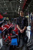 KELOWNA, CANADA - OCTOBER 27: Equipment manager Chaydyn Johnson stands on the bench against the Tri-City Americans on October 27, 2017 at Prospera Place in Kelowna, British Columbia, Canada.  (Photo by Marissa Baecker/Shoot the Breeze)  *** Local Caption ***