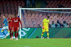 NAPLES, ITALY - Wednesday, October 3, 2018: Liverpool's goalkeeper Alisson Becker looks dejected as Napoli score an injury time winning goal during the UEFA Champions League Group C match between S.S.C. Napoli and Liverpool FC at Stadio San Paolo. Napoli won 1-0. (Pic by David Rawcliffe/Propaganda)
