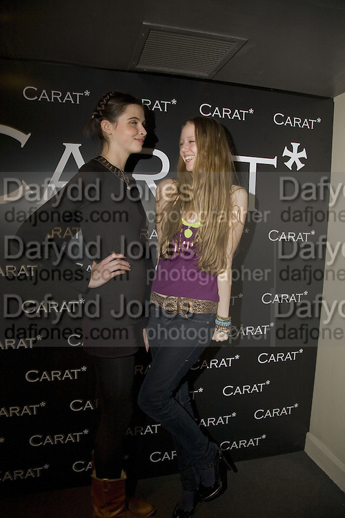 ROSA CURTAIN AND MORWENNA LYTTON-COBBOLD. Party to launch CARAT a new diamond brand, Kitts. Sloane sq. London. 20 December 2007.  -DO NOT ARCHIVE-© Copyright Photograph by Dafydd Jones. 248 Clapham Rd. London SW9 0PZ. Tel 0207 820 0771. www.dafjones.com.