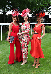 Ilda di Vico (left), Natasha, and Katie Houghton during Ladies Day of the 2019 Invested Derby Festival at Epsom Racecourse, Epsom.