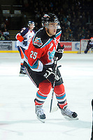 KELOWNA, CANADA, OCTOBER 29: Colton Heffley #25 of the Kelowna Rockets skates on the ice as the Kamloops Blazers visit the Kelowna Rockets  on October 29, 2011 at Prospera Place in Kelowna, British Columbia, Canada (Photo by Marissa Baecker/Shoot the Breeze) *** Local Caption *** Colton Heffley;
