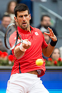 Novak Djokovic during the final of the Madrid Open at Manzanares Park Tennis Centre, Madrid<br /> Picture by EXPA Pictures/Focus Images Ltd 07814482222<br /> 08/05/2016<br /> ***UK &amp; IRELAND ONLY***<br /> EXPA-ESP-160509-0097.jpg