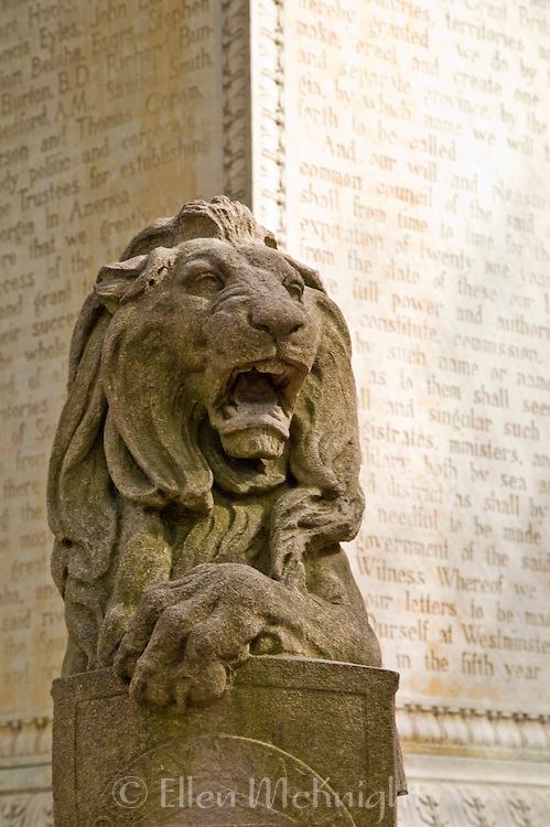 One of four lion sculptures at the base of the statue of James Oglethorpe in Chippewa Square in Savannah. Chippewa Square was named in honor of American soldiers killed in the Battle of Chippawa during the War of 1812.
