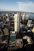 City Centre. Panoramic view from Sydney Tower towards Sydney Opera House and Harbour Bridge.