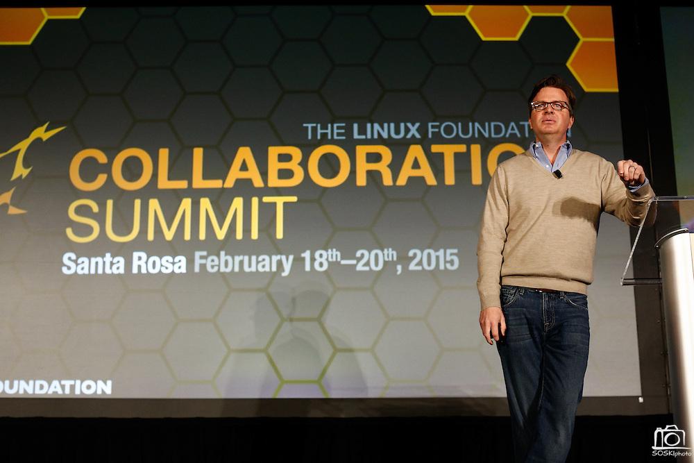 The Linux Foundation hosts their Collaboration Summit at the Hyatt Vineyard Creek Hotel and Spa in Santa Rosa, California, on February 18, 2015. (Stan Olszewski/SOSKIphoto)