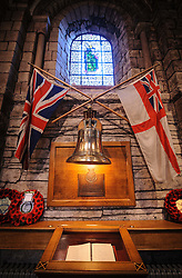 The bell from HMS Royal Oak inside St Magnus Cathedral  - Britain's most northerly Cathedral.<br /> St Magnus Cathedral known as the 'Light in the North' was founded in 1137 by the Viking, Earl Rognvald, in honour of his uncle St Magnus.<br /> <br /> (c) Andrew Wilson | Edinburgh Elite media