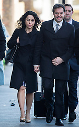 © Licensed to London News Pictures. 07/03/2016. Croydon, UK.  Former Chelsea team doctor EVA CARNEIRO arrives at Croydon Employment Tribunal in south London with her husband  JASON DE CARTERET , where a private hearing is due to take place to discuss her constructive dismissal case against Chelsea FC.  Carneiro left Chelsea Football Club following an on pitch row with former manager Jose Mourinho in August 2015 . Photo credit: Ben Cawthra/LNP