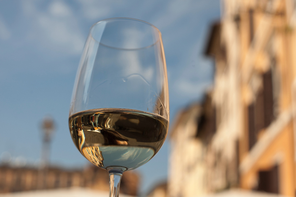 White wine at Campo di Fiore, Rome, Italy