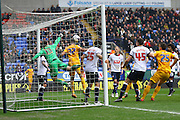 Paul Rachubka punches clear from danger during the Sky Bet Championship match between Bolton Wanderers and Preston North End at the Macron Stadium, Bolton, England on 12 March 2016. Photo by Pete Burns.