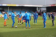 Shrewsbury Town players warm up prior to  the EFL Sky Bet League 1 match between Scunthorpe United and Shrewsbury Town at Glanford Park, Scunthorpe, England on 17 March 2018. Picture by Mick Atkins.