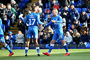 Peterborough midfielder Joe Ward celebrates putting Posh 1-0 up during the EFL Sky Bet League 1 match between Peterborough United and Burton Albion at London Road, Peterborough, England on 4 May 2019.