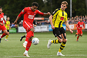 Josh Koroma of Leyton Orient (19) shoots during the Vanarama National League match between Harrogate Town and Leyton Orient at Wetherby Road, Harrogate, United Kingdom on 22 September 2018.