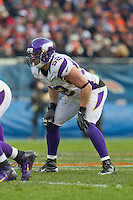 25 November 2012: Linebacker (52) Chad Greenway of the Minnesota Vikings lines up against the Chicago Bears during the second half of the Bears 28-10 victory over the Vikings in an NFL football game at Soldier Field in Chicago, IL.