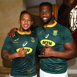 Elton Jantjies with Siya Kolisi (captain) of South Africa during the South African Springbok team photo, <br /> at the The Cullinan Hotel in Cape Town.South Africa. 22,06,2018 22,06,2018 Photo by (Steve Haag JMP)