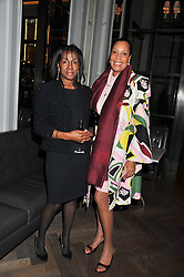 Jamaican millionaire and art collector THERESA ROBERTS and JENNIFER SPRING at a dinner hosted by Pablo Ganguli and Ella Krasner to celebrate the 10th Anniversary of Liberatum and in honour of Sir Peter Blake held at The Corinthia Hotel, Nortumberland Avenue, London on 23rd November 2011.