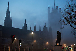 © licensed to London News Pictures. London, UK 19/02/2013. Houses of Parliament pictured with fog in the morning of Tuesday 19 February 2013. Photo credit: Tolga Akmen/LNP