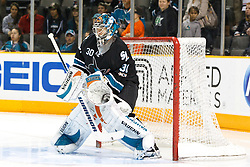 November 11, 2010; San Jose, CA, USA; San Jose Sharks goalie Antero Niittymaki (30) warms up before the game against the New York Islanders at HP Pavilion. Mandatory Credit: Jason O. Watson / US PRESSWIRE